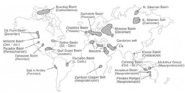 "Map showing location and age of some of major basinwide evaporite deposits, from ""Evaporite basins with emphasis on the Permian Zechstein"" by Kristin Börner"