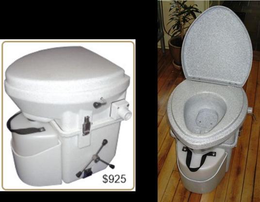 Nature's Head urine-diverting toilet. http://www.natureshead.net/ , http://en.wikipedia.org/wiki/Urine-diverting_dry_toilet