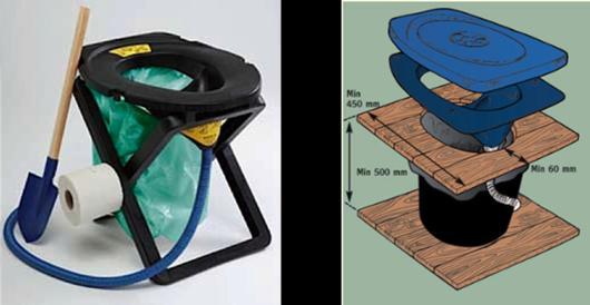 Rescue Kit folding urine-diverting toilet ($129) and Separett Privy Kit ($129) from Ecovita. http://www.ecovita.net/products.html