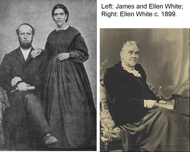Left: James and Ellen White      http://en.wikipedia.org/wiki/Seventh-day_Adventist_Church   Right: Ellen White in 1899     http://en.wikipedia.org/wiki/Ellen_G._White