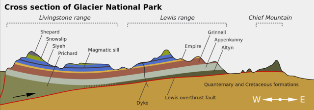 Lewis Overthrust in Montana's Glacier National Park.  http://en.wikipedia.org/wiki/Lewis_Overthrust#/media/File:Glac_cross_section_en.svg