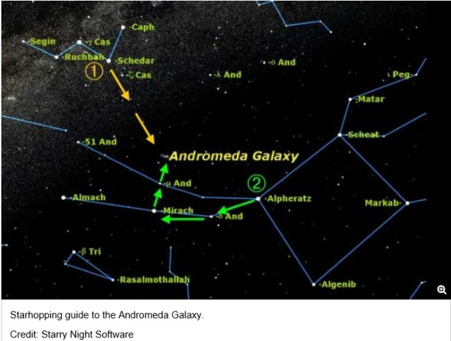 FInding Andromeda. http://www.space.com/7426-starhopping-101-find-andromeda-galaxy.html